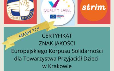 Certyfikat ZNAKU JAKOŚCI Europejskiego Korpusu Solidarności dla TPD w Krakowie